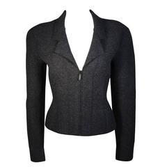Chanel Grey Boiled Wool Zipper Front Jacket Size 38