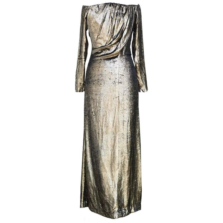 "Yves Saint Laurent Vintage ""Divine Gold Long Dress""   1"
