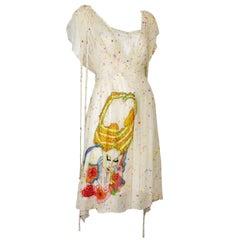 Tsumori Chisato Limited Edition Silk Chiffon Day Dress w/Fantastical Embroidery