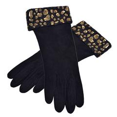 Rare and Gorgeous Valentino Suede and Beaded Gloves