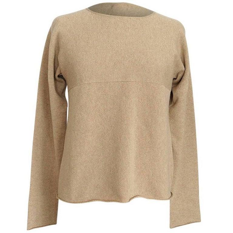 Hermes Top Cashmere Sweater Classic Tan Knit Detail L