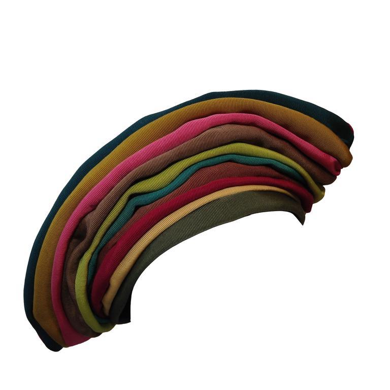 1940s Irina Roublon Multi-Color Grosgrain Striped Avant Garde Hat 1