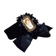 1940s Irina Roublon Black Velvet Hat w/ Face Framing Bow and Needlepoint Cameo