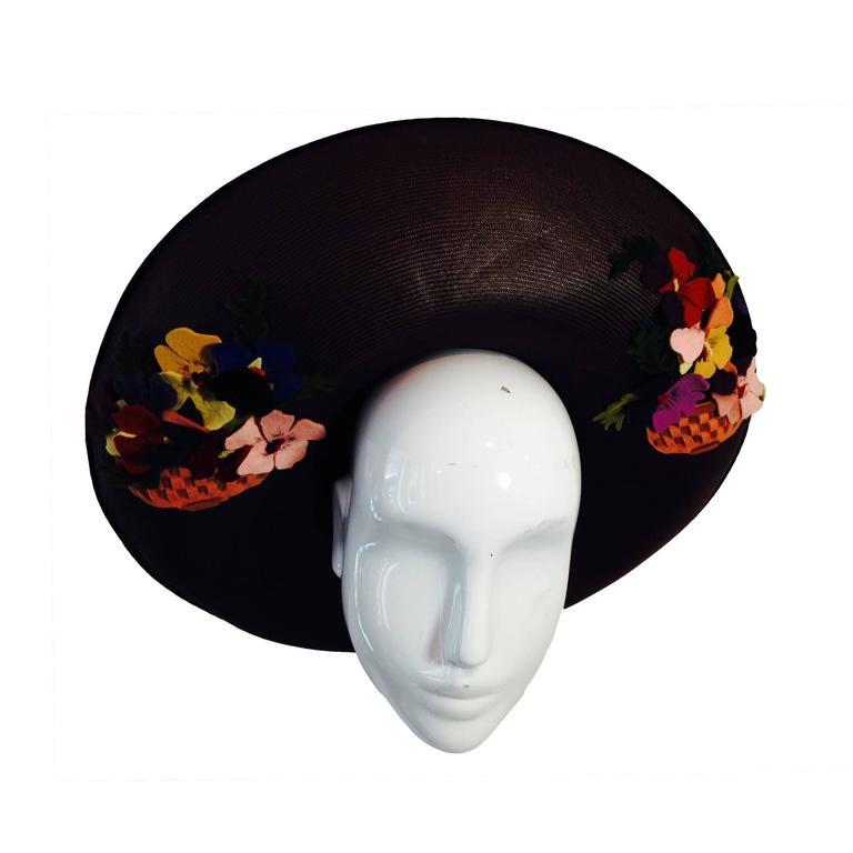 1940s Irina Roublon Fine Brown Straw Large Brim Hat w/ Felt Bouquet Trim