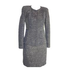 Gorgeous J Mendel Black & Gold Flecked Wool Blend Skirt Suit (2)