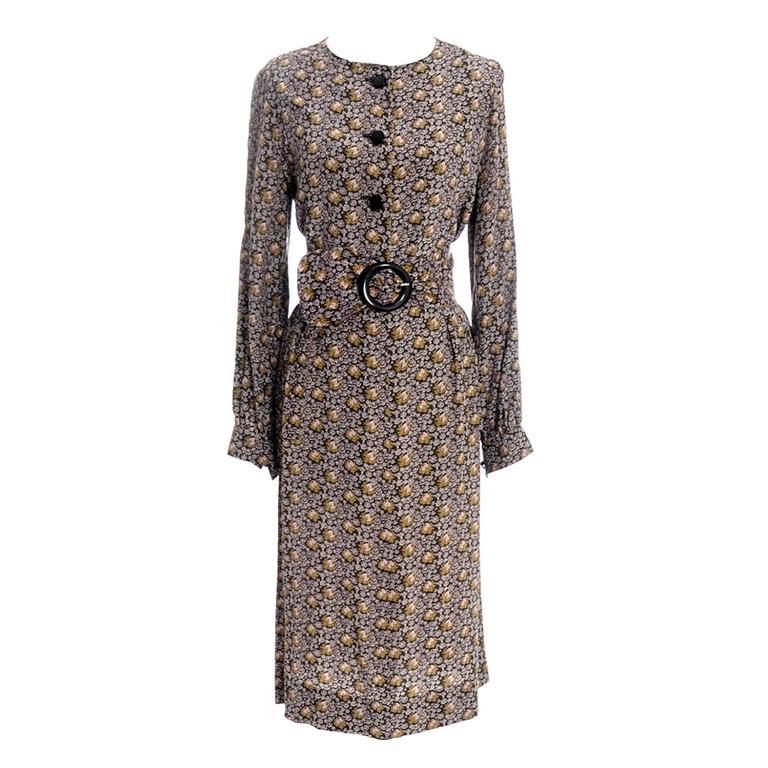 Emanuel Ungaro Parallele Paris Vintage Silk Dress 2pc Skirt Top Roses Belt 1970s