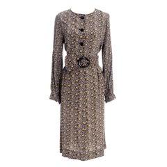 1970s Emanuel Ungaro Parallele Paris Vintage Silk Rose Print 2 Piece Dress