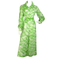 Fred Perlberg Vintage Outfit Palazzo Pants Blouse Rhinestones Silk Chiffon 60s