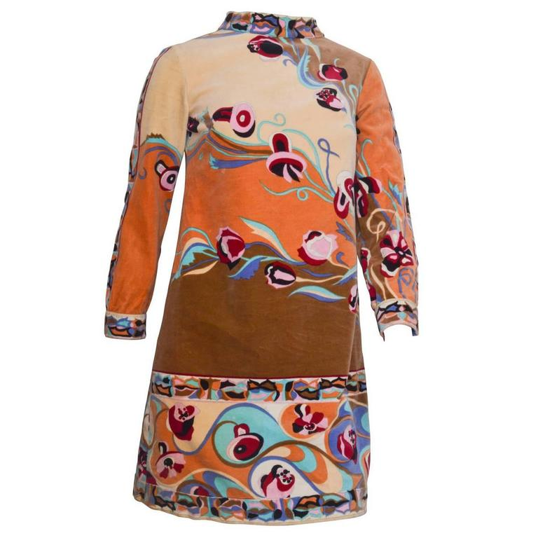 Emilio Pucci Velvet Floral Print Mini Dress
