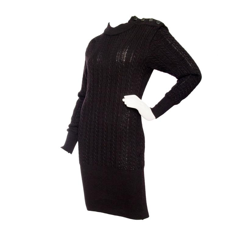 1980s Yves Saint Laurent Black Cable Knit Dress