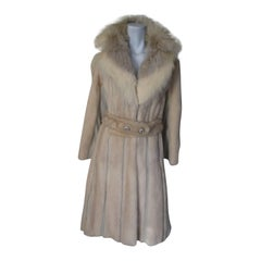 Extravagant Mink Ivory Fur Belted Coat