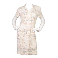 Chanel Vintage '98 Multi-Colored Coco Print Silk Dress sz 40