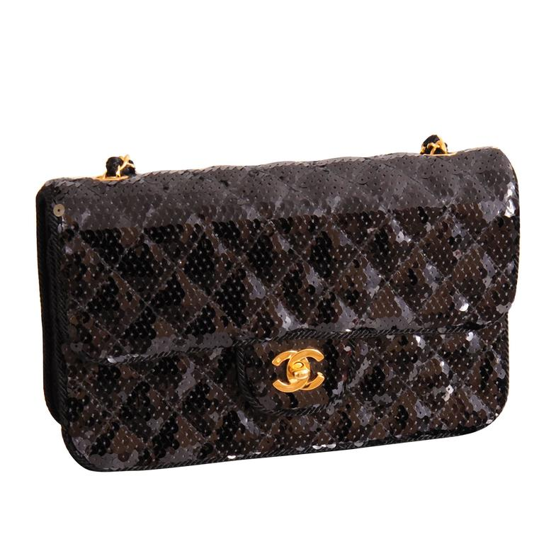 Chanel Sparkling Black Sequin Quilted Bag with Chain Strap, Never Used 4