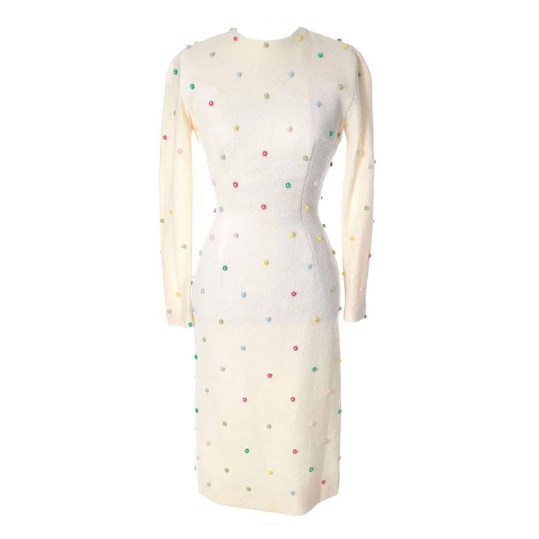 1960s Vintage Anne Fogarty Dress in Winter White Wool With Pom Poms & Pearls