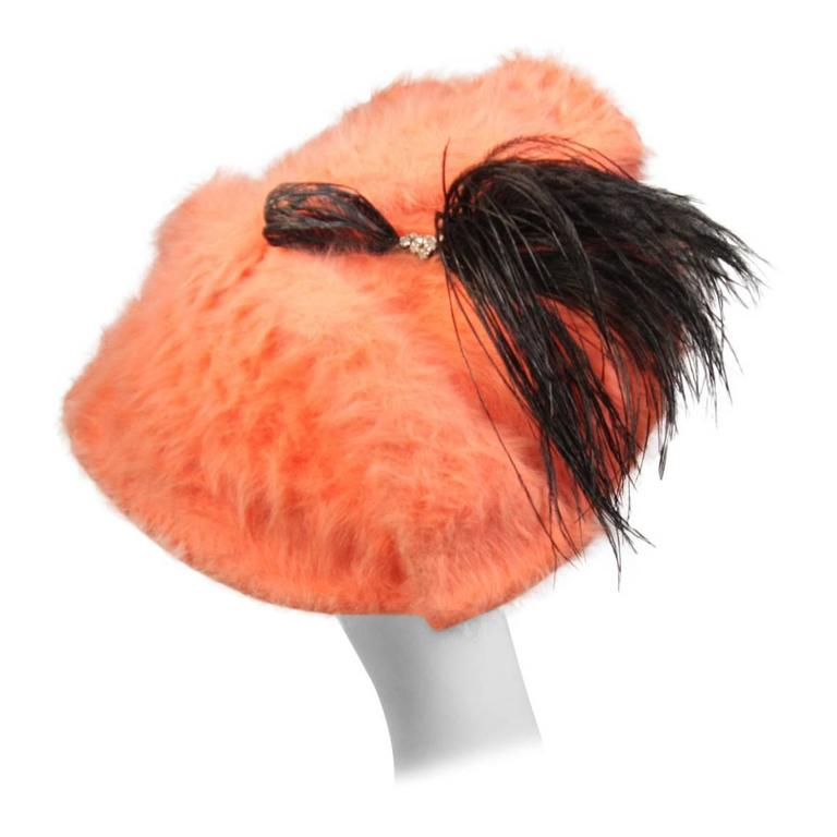 Esther Bright Orange Fur Clam Shape Hat with Black Feather and Rhinestones