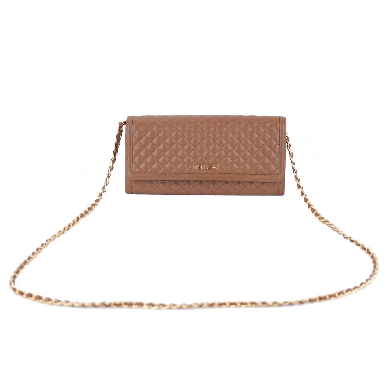 brighton knockoffs - prada black leather saffiano fiocco ribbon strap wallet purse woc ...