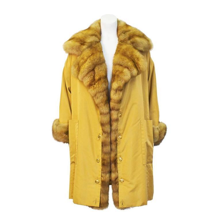 1980's Christian Dior Haute Fourrure Golden Sable Trimmed Coat