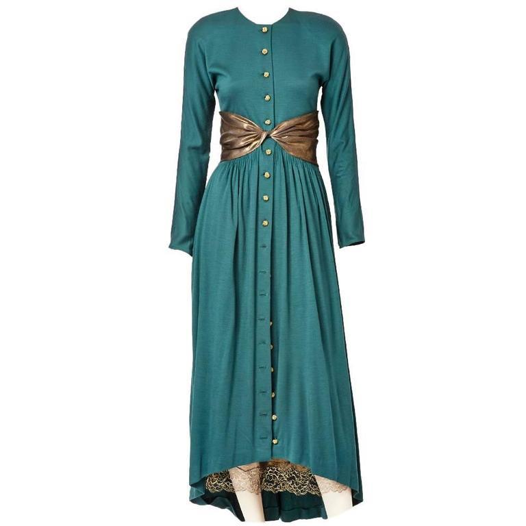 Geoffrey Beene Jersey Dress With Bronze Details 1