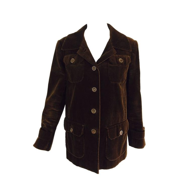 Bill Blass chocolate brown corduroy country jacket early 1970s For Sale