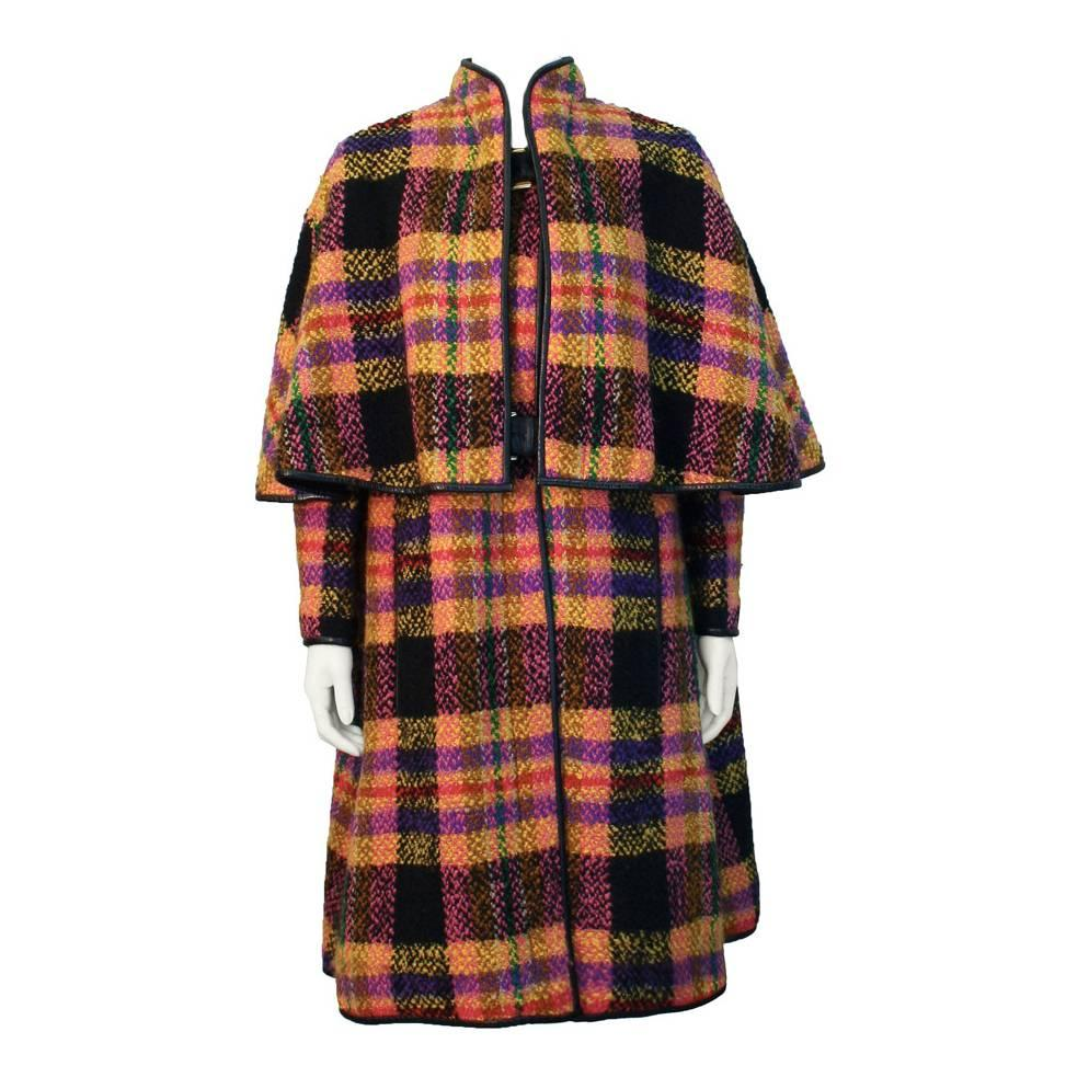 Late 1960s Bonnie Cashin Mutli-Colored Plaid Wool Cape with Leather Trim