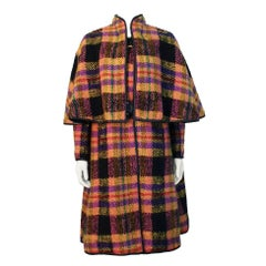 Late 1960s Bonnie Cashin Mutli-Colored Plaid Wool Cape with Leather Trim