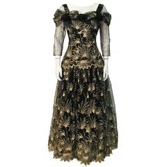 1980s Zandra Rhodes Black Gown with Gold Tambour Detailed Stitching