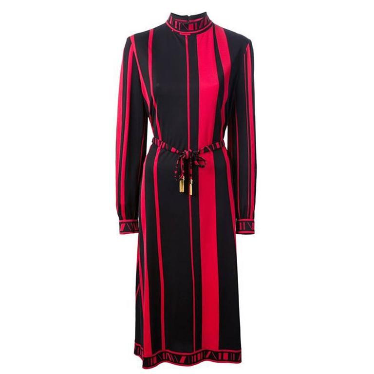 70s Red and Black Stripes Silk Jersey Leonard Dress