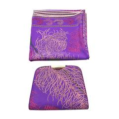 1960's Emilio Pucci Purple & Pink Feather Printed Clutch and Scarf Set