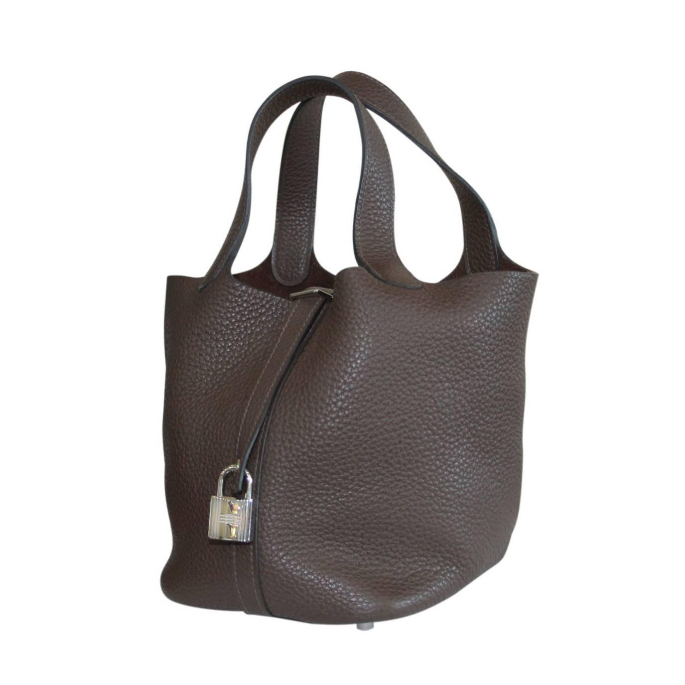 Hermes Picotin Lock PM Brown Clemence Leather Handbag For Sale at ...