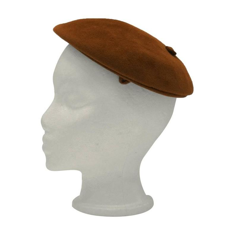 1950s Christian Dior Copper Felt Beret Style Hat 1