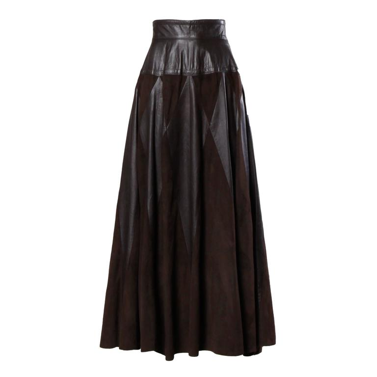 Vintage Soft Buttery Leather + Suede Patchwork Maxi Skirt with a Full Sweep For Sale