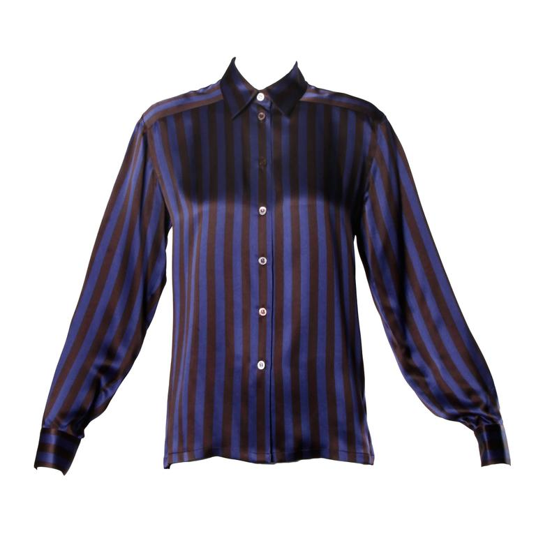 Escada by Margaretha Ley Vintage Striped Silk Button Up Blouse 1