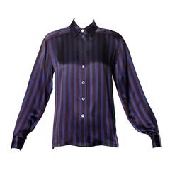 Escada by Margaretha Ley Vintage Striped Silk Button Up Blouse
