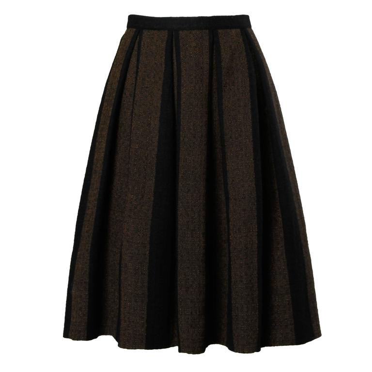 1960s Vintage Brown + Black Soft Woven Wool Skirt with Box Pleats 1