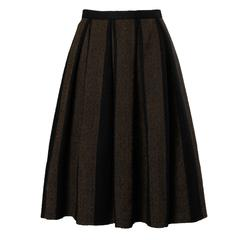 1960s Vintage Brown + Black Soft Woven Wool Skirt with Box Pleats