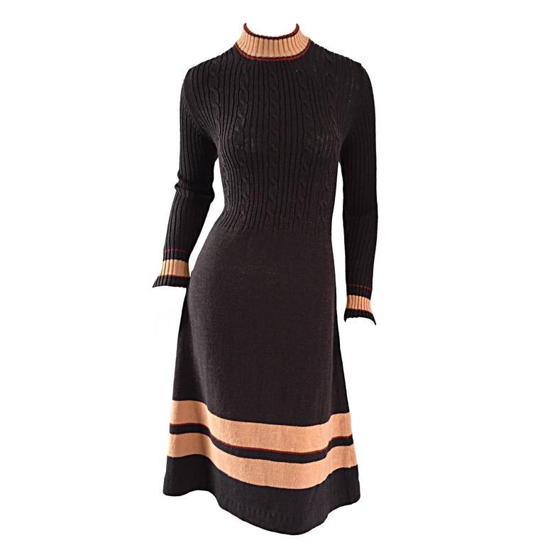 Chic 1960s 60s Judy Wayne Chocolate Brown Mod Vintage Sweater ...