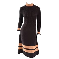 Chic 1960s 60s Judy Wayne Chocolate Brown Mod Vintage Sweater Dress