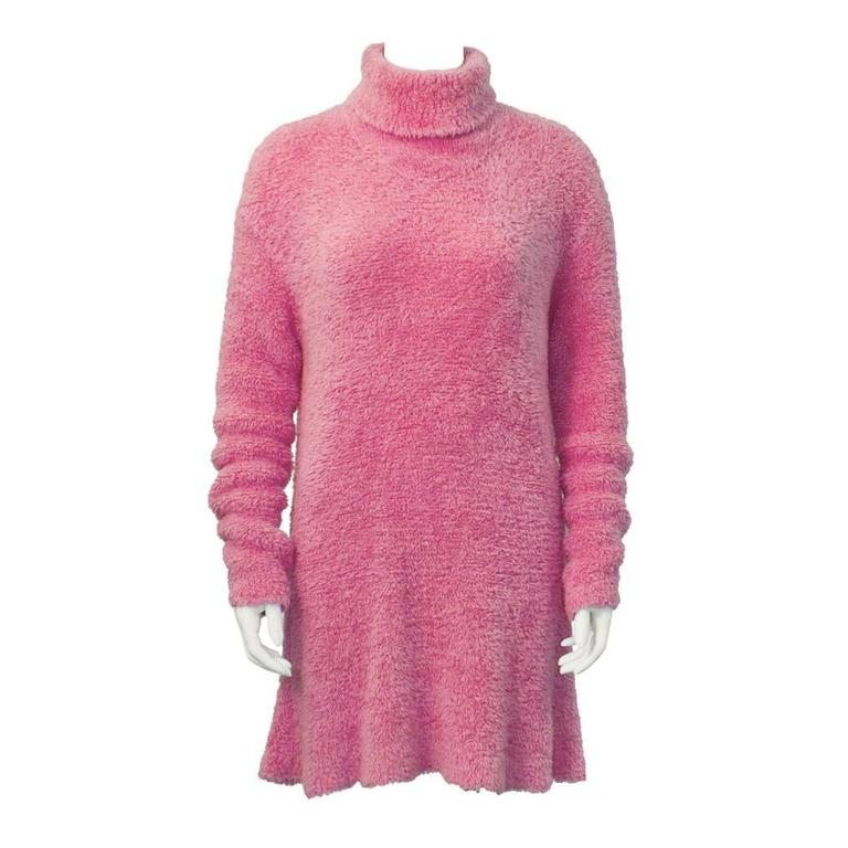 1990's Isaac Mizrahi Pink Long Turtleneck Tunic For Sale