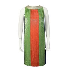 1960's Jean Louis Green, Orange, Blue and Silver Color Block Beaded Shift Dress