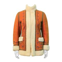 1970's Tan Shearling Embroidered Coat