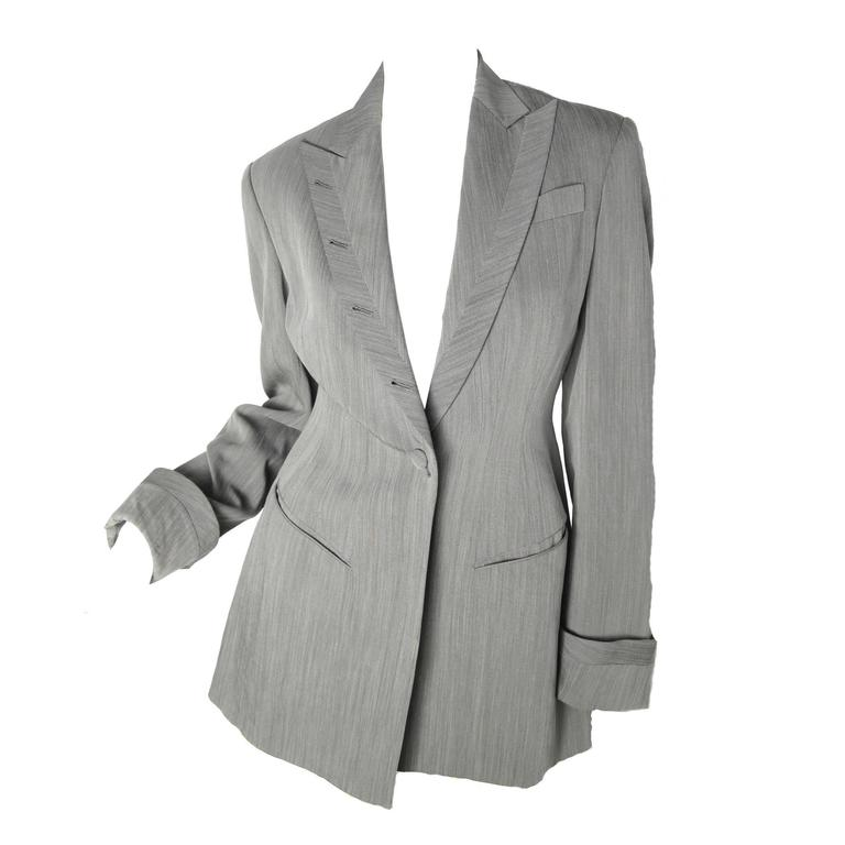 1990s Richard Tyler Suit with Button Holes up Collar