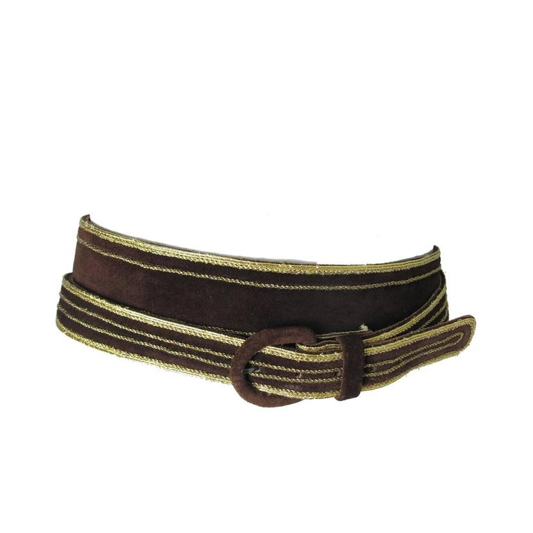 Late 70s - Early 80s Yves Saint Laurent Brown Suede Wrap Waist Belt