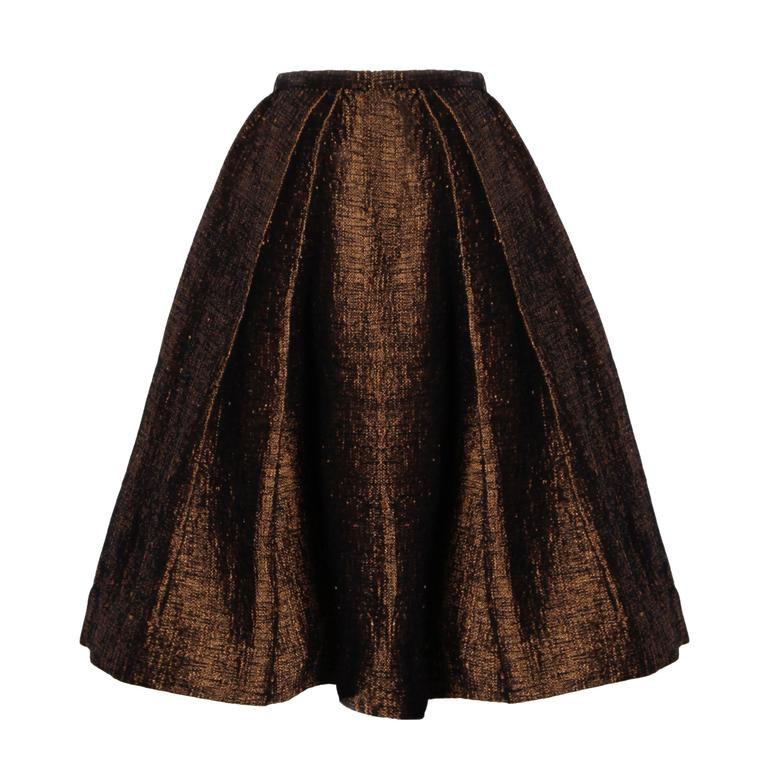 1950s Couture Vintage Silk + Wool Hand Woven Pleated Skirt For Sale