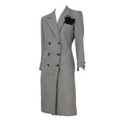 Yves Saint Laurent Checkered Double Breasted Coat