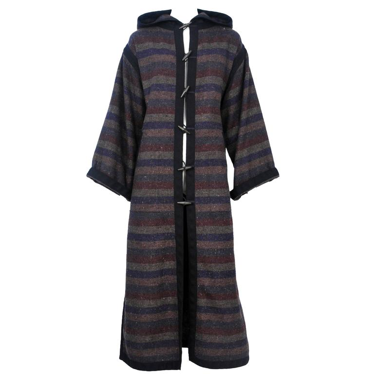 Yves Saint Laurent Striped Toggle Coat  1