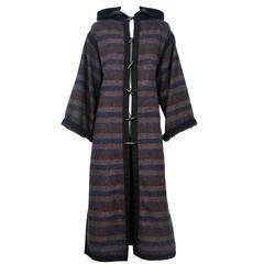 Yves Saint Laurent Striped Toggle Coat