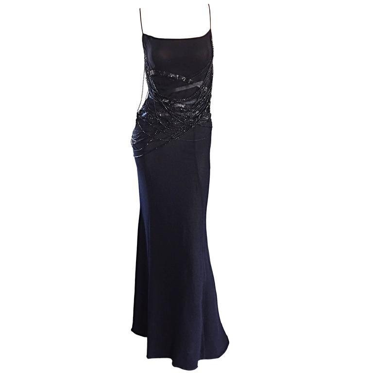 Gai Mattiolo Couture ' Spiderweb ' Intricately Beaded Silk Dress