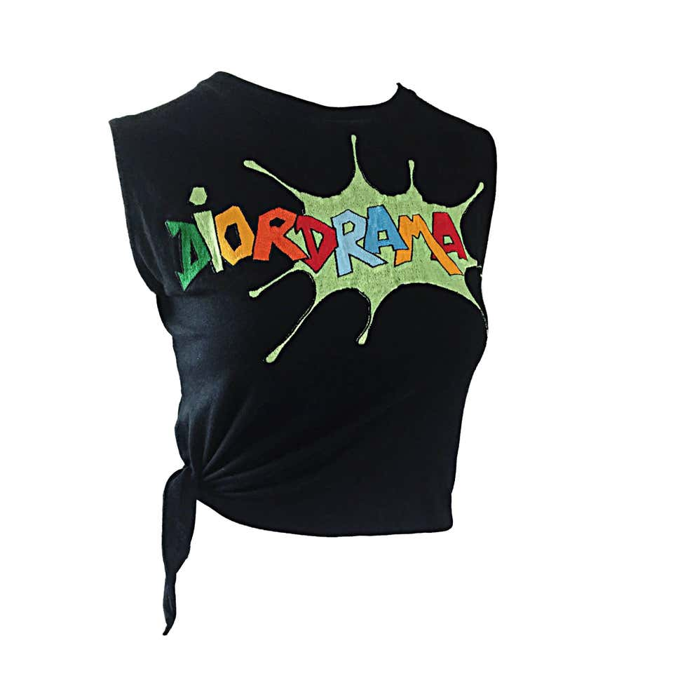 DiorDrama Cartoon Print Black Vintage Tie Crop Top by Christian Dior, available on 1stdibs.com for $495 Kylie Jenner Top Exact Product
