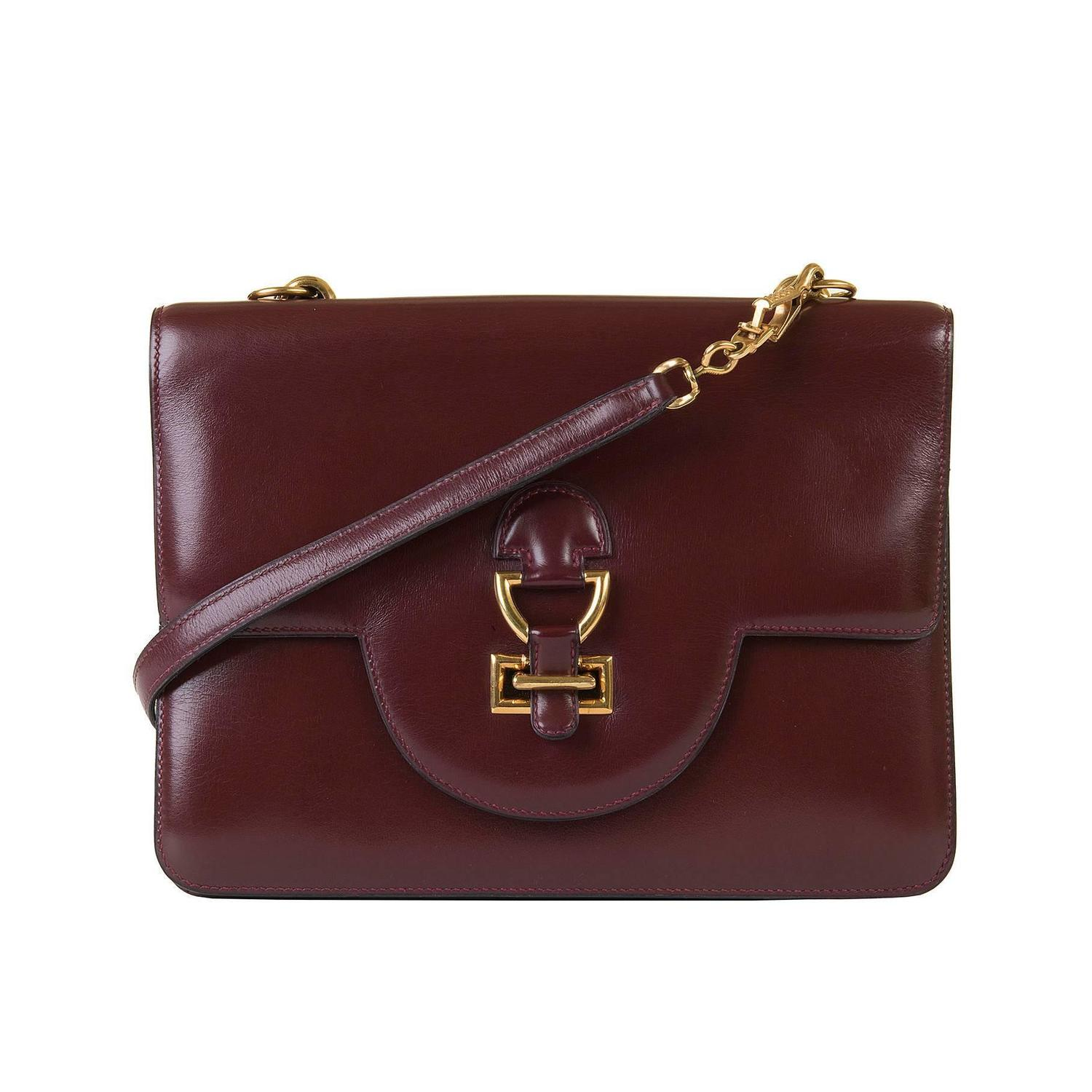 Pristine Vintage Hermes \u0026#39;Sandrine\u0026#39; Burgundy Box Leather Handbag at ...