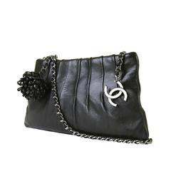 TRES CHIC Chanel Black Shoulder/ Clutch Bag with Silver Palladium Hardware